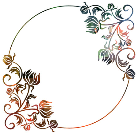 Luxurious frame with decorative floral silhouettes. Copy space. Beautiful background for your artwork. Vector clip art.