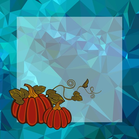 Mosaic backdrop with transparent empty square for text and pumpkin. Beautiful background for greetings cards, banners, layouts. Copy space. Vector clip art.