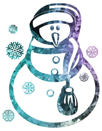 wintery: Contour snowman and snowflakes a white background. Color, mosaic, sparkling. Vector clip art.
