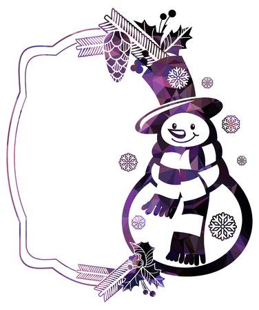 Blocco per grafici di natale con il pupazzo di neve e fiocchi di neve una priorità bassa bianca. Colore, mosaico, frizzante. ClipArt vettoriali. Archivio Fotografico - 89107116