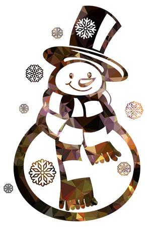 Contour snowman and snowflakes illustration.