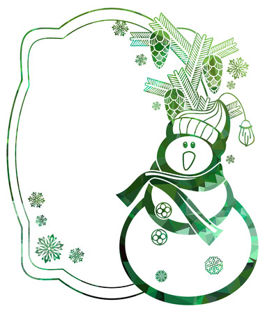wintery: Christmas frame with snowman and snowflakes a white background. Color, mosaic, sparkling. Vector clip art.