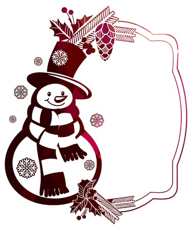Christmas frame with snowman and snowflakes a white background. Color, mosaic, sparkling. Vector clip art.
