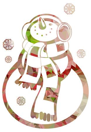 Contour snowman and snowflakes a white background. Color, mosaic, sparkling. Vector clip art.
