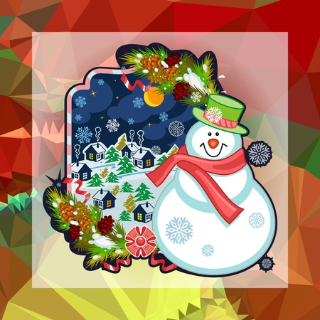 Holiday square christmas card with funny snowman and snowing landscape on a colorful mosaic background. Can be used as a greeting ecard