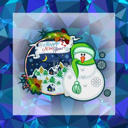Holiday square christmas card with funny snowman and snowing landscape on a colorful mosaic background. Can be used as a greeting ecard for instagram and other social networks. Vector clip art.