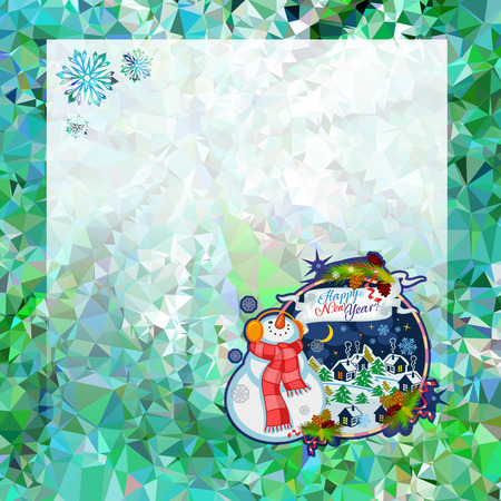 Holiday square christmas card with funny snowman and winter village landscape on a colorful mosaic background. Copy space. Can be used as a greeting ecard for social networks. Vector clip art.