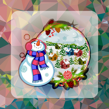 Holiday square christmas card with funny snowman and winter village landscape on a colorful mosaic background. Can be used as a greeting ecard for social networks. Vector clip art.