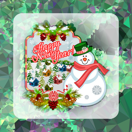 Holiday square christmas card with funny snowman and winter village landscape on a colorful mosaic background.