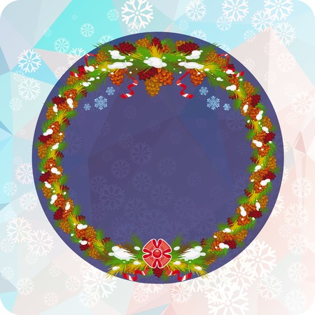 Holiday background with Christmas wreath and snowflakes. Copy space. Vector clip art. Illustration