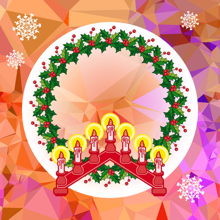 Holiday design with Christmas garland and candlestick vector Illustration