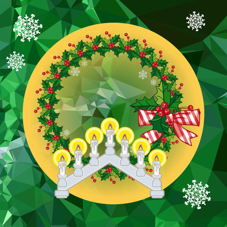 Holiday background with Christmas garland and candlestick. Copy space.Vector clip art.