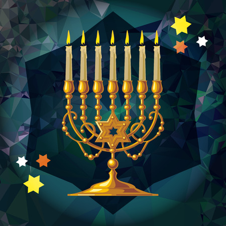 Golden menorah on a mosaic background. Vector clip art.