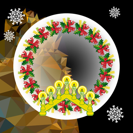 Holiday background with Christmas garland and candlestick. Illustration