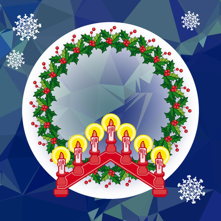 Christmas garland and candlestick. Illustration