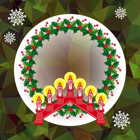 Holiday Christmas garland and candlestick. Ilustrace