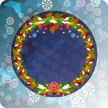 Holiday Christmas wreath and snowflakes. Copy space.