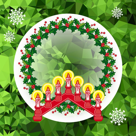 Holiday Christmas garland and candlestick. Illustration