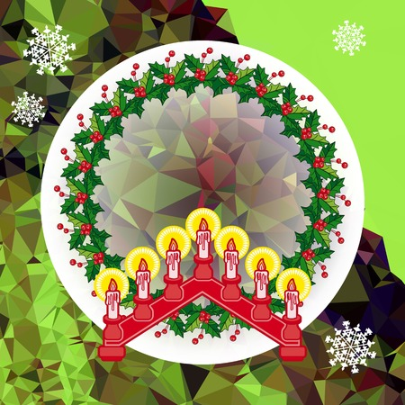 Holiday design with Christmas garland and candlestick