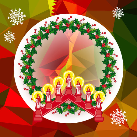 Holiday background with Christmas garland and candlestick. Copy space Vector clip art. Illustration