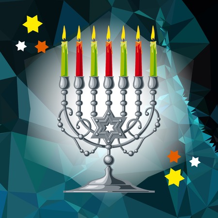 Silver menorah on a mosaic background.