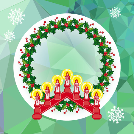 Holiday design with Christmas garland and candlestick.