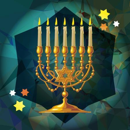 Golden menorah on a mosaic
