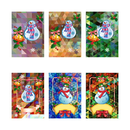 Set of holiday Christmas cards with funny snowman on a colorful mosaic background. Copy space. Can be used as a greeting card for social networks. Vector clip art. 向量圖像