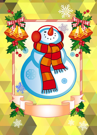 Holiday Christmas cards with funny snowman on a colorful mosaic illustration.