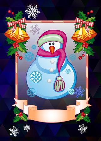 Holiday Christmas card with funny snowman on a colorful mosaic background. Can be used as a greeting card for social networks. Vector clip art.