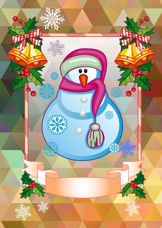 Holiday Christmas card with a funny snowman on a colorful mosaic background.