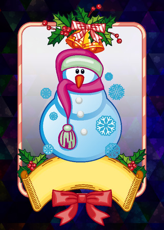 Holiday christmas card with funny snowman on  a colorful mosaic background. Copy space. Can be used as a greeting ecard for social networks. Vector clip art.