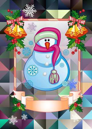 Holiday Christmas card with funny snowman on a colorful mosaic background. Copy space. Can be used as a greeting card for social networks. Vector clip art. 向量圖像