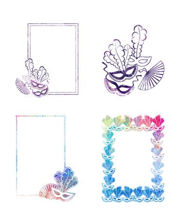 Reeks mooie frames van het kleurensilhouet met Carnaval-maskers. Laag poly getextureerd. Ruimte kopiëren. Vector illustraties.