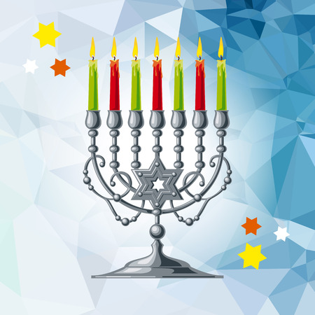 Silver menorah on a mosaic background. Vector clip art.