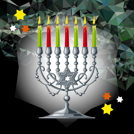 Silver menorah on a mosaic background. Vector clip art.