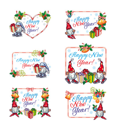 Set of holiday labels with Christmas decorations, funny gnomes and greeting text Happy New Year!. Vector clip art.