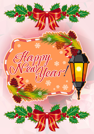 Winter holiday card with vintage lanterns, pine branches and artistic written text Happy New Year!. Design element for greeting cards and other graphic designer works. Vector clip art.
