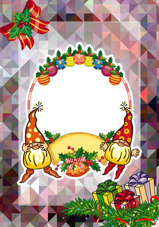 Holiday card with Christmas decorations, funny gnomes and free space for your greeting text. Vector clip art.
