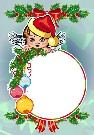 Christmas holiday card with pine branches, sweet little angel and wreath. Copy space. Vector clip art.