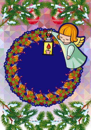 Christmas holiday card with pine branches, sweet little angel and round wreath. Copy space. Vector clip art.