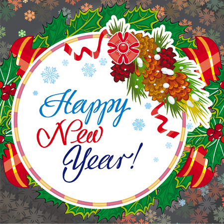 Winter holiday greeting card with Christmas decorations and artistic written text