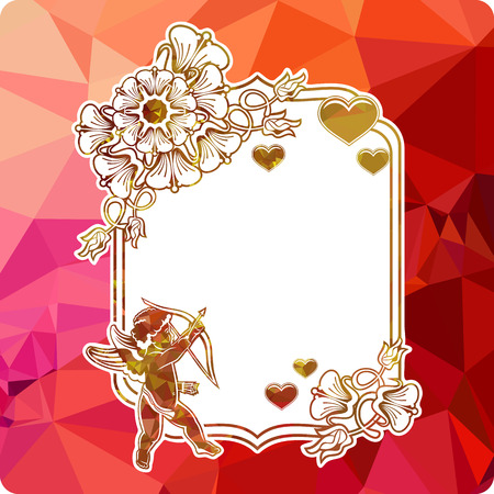 Colorful label with silhouettes of cupid with bow, hearts and flowers. Copy space. Beautiful background for your artwork. Vector clip art.