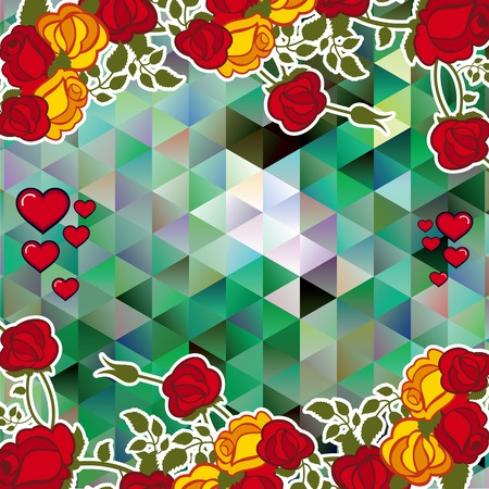 Abstract mosaic background with decorative roses and hearts. The layout for greeting cards, Valentine Day cards, labels, tags, banners, ads. Copy space. Vector clip art.