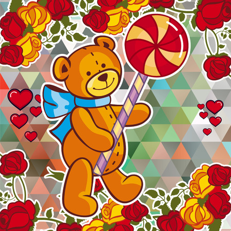 Cute teddy bear on a mosaic background with roses the layout cute teddy bear on a mosaic background with roses the layout for greeting cards m4hsunfo