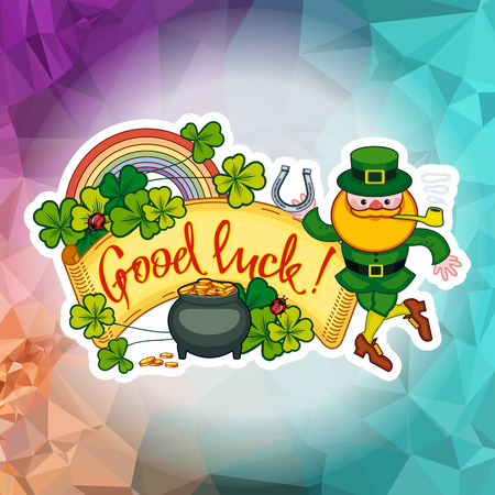Holiday square label with shamrock, rainbow, leprechaun and a pot of gold on a mosaic background. St. Patricks day background vector clip art.