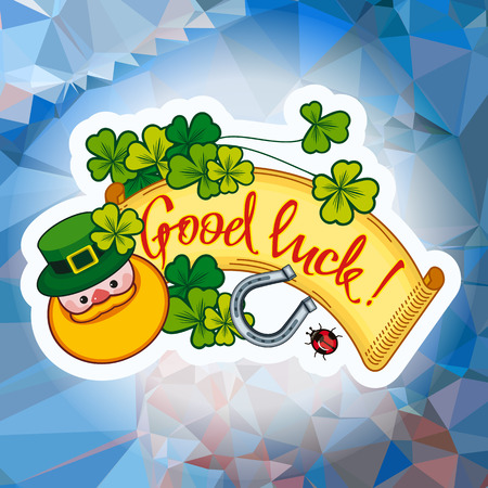 Funny square label with shamrock, leprechaun and text Good luck!. St. Patrick Day background. Vector clip art.