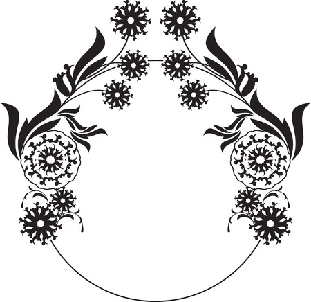 Black and white round frame with floral silhouettes copy space. Vector clip art.