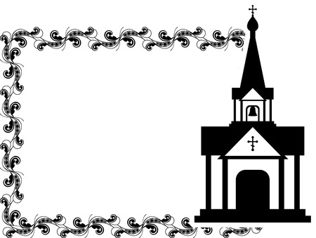 Black and white floral frame with abstract christian temple. Illustration