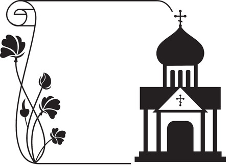 Black and white floral frame with abstract christian temple. Stock Illustratie